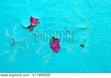 Peeling paint surface,turquoise peeling paint on the texture concrete surface, peeling paint surface,painted surface,blue painted surface,surface of peeling paint