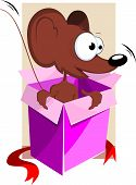 Illustration of gift box with a cartoon rat poster