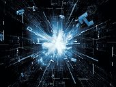 Abstract design made of bursting numerical forms on the subject of modern computing virtual reality and information processing poster