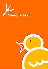 The big funny chicken on the orange template background