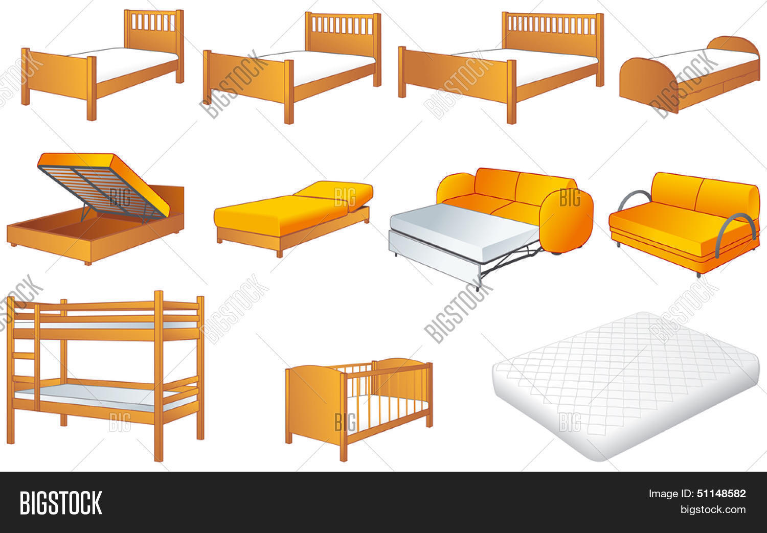 Various Bedroom Furniture: Bed, Cot, Couch With Adjustable Back, Sofa,  Unfolded