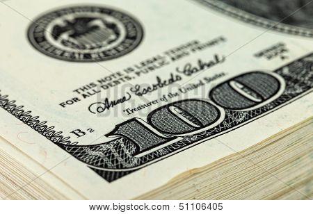Stack Of Ten Thousand Dollar Piles Of One Hundred Dollar Bills. Fragment