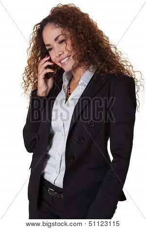Attractive Woman Laughs While Talking On The Phone.