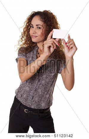 Beautiful Office Worker Holds A Blank Business Card.