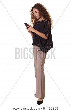 Cute Woman Using A Cell Phone.