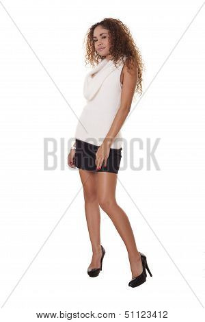 Beautiful Composd Woman In Short Black Skirt And Heels.