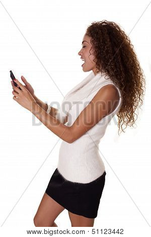 Woman Interacts With Her Cell Phone.
