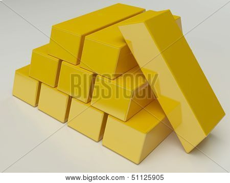 Shiny gold ingot on white background