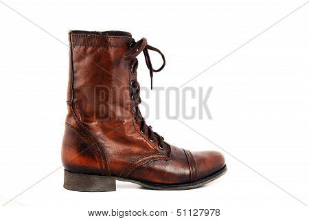 Ladies Leather Boots Isolated On A White Background.