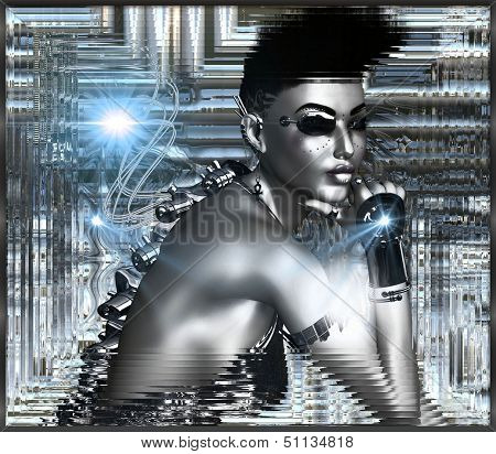 Sexy android on silver abstract background in a silver frame.