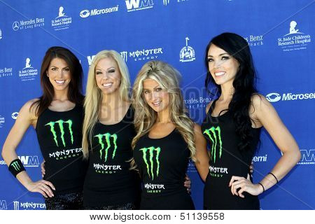 MOOREPARK, CA - SEPT 16:  Unidentifed Monster girls arrive at the 6th Annual Scott Medlock & Robby Krieger Golf Invitational & All-Star Concert on September 16, 2013 in Moorepark CA.
