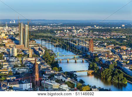 Aerial Of Frankfurt  With Ecb Building
