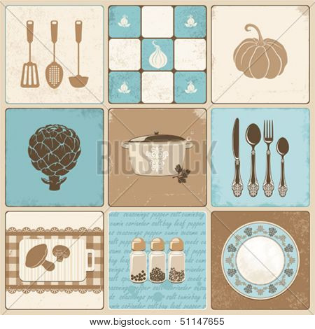 Vector kitchen collage in vintage style.