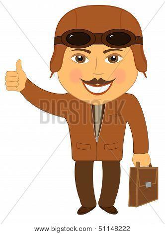 isolated cartoon man pilot