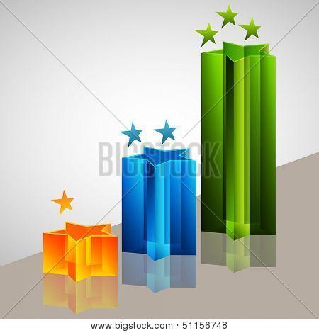 An image of a 3d star bar chart.