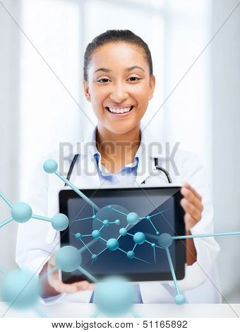 healthcare, hospital, research, science and medical concept - african female doctor with tablet pc and molecules