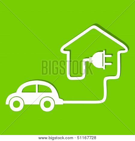 Eco car make a home icon