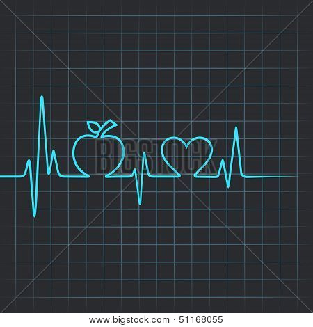 Heartbeat make apple and heart symbol
