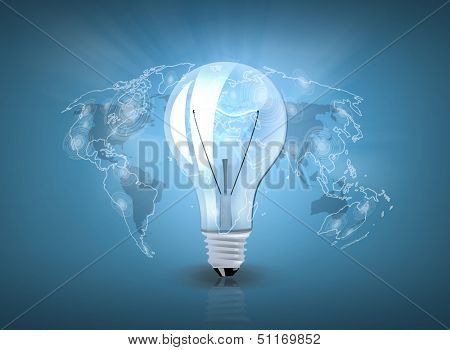 business and technology concept - light bulb with world map