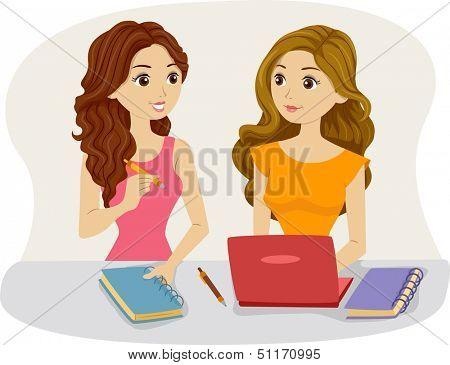 Illustration of Female Roommates Studying Together