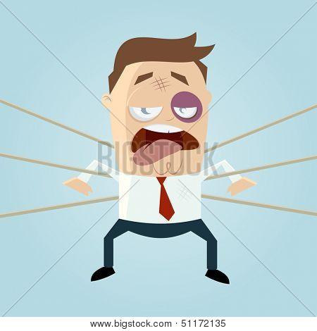funny businessman is beaten