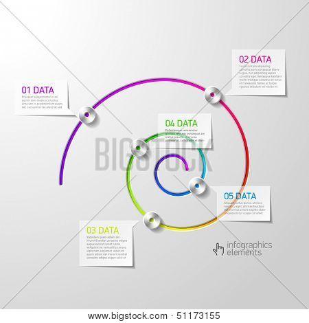Spiral diagram infographics element. Vector.