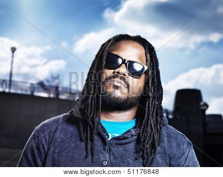 african man in urban portrait.
