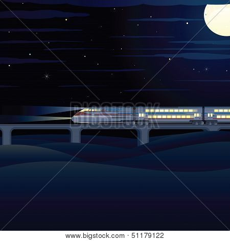 Night Express. Vector Illustration