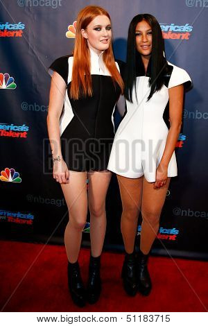 NEW YORK-SEP 18: Caroline Hjelt (L) and Aino Jawo of Icona Pop at the post-show of