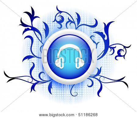 poster of headphones icon on blue decorative button