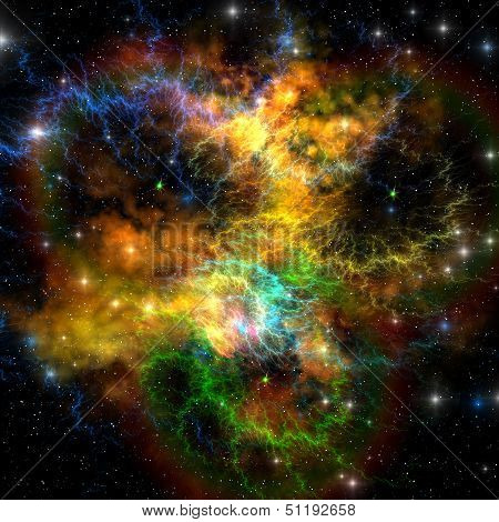 Multi-colored ribbons and gaseous clouds make up this nebula in the cosmos. poster
