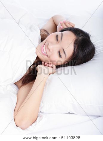Sleeping Woman Wake Up In The Morning