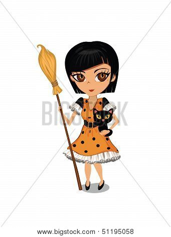 Cartoon girl dressed in a witch costume