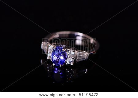 Tanzanite And Diamond Platinum Ring