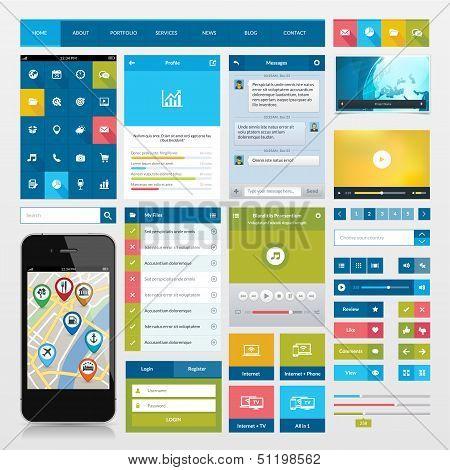 Set of flat icons and ui web elements
