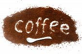 """The word """"coffee"""" from instant coffee granules poster"""