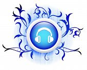 headphones icon on blue decorative button poster