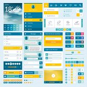 Set of flat web elements, icons and buttons for mobile app and web design poster