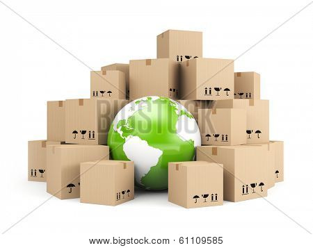 Global delivery. Heap of cardboard boxes