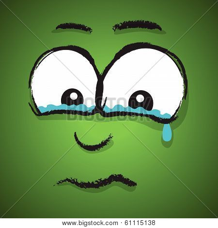 a green hand drawn crying cartoon face poster
