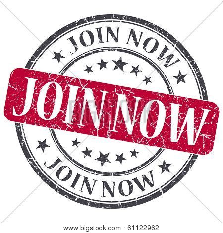 Join Now Red Grunge Round Stamp On White Background