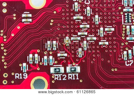 Red Circuit Board Electronics Part IC Components poster