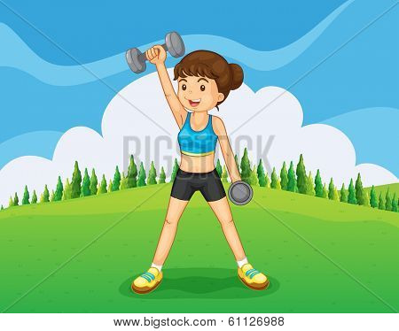 Illustration of a hilltop with a girl exercising