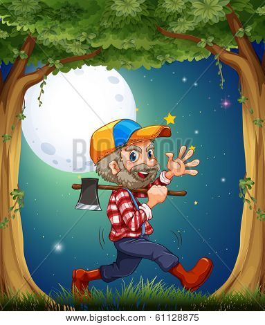 Illustration of a happy and hardworking woodman walking at the forest