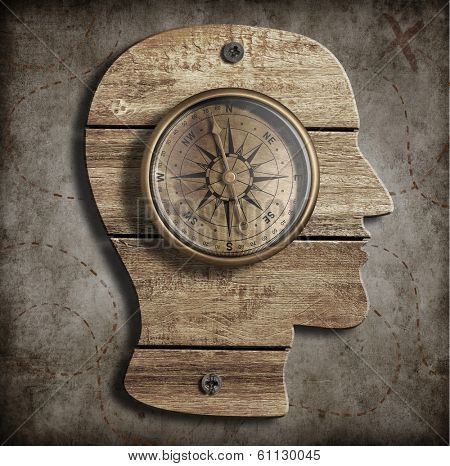 Human head and old compass. Path finding, idea concept. poster