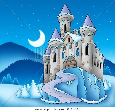 Frozen castle in snowy winter landscape - color illustration. poster