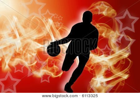 Basketball player in action on red smoke background poster