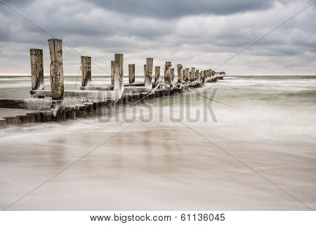 Groyne on shore of the Baltic Sea in Zingst (Germany). poster