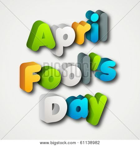 Happy Fool's Day funky concept with colorful text on grey background. poster