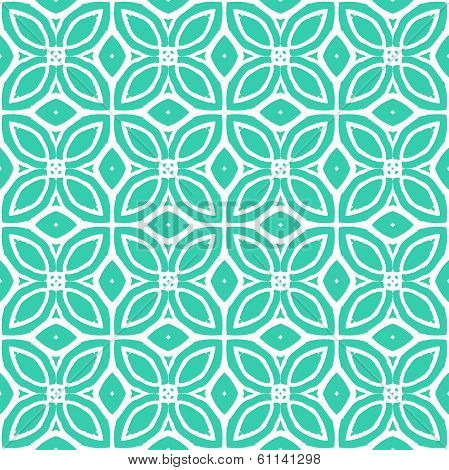 Vintage vector art deco pattern with 1970s motifs in tropical blue and white colors. Seamless texture for print; wallpaper; wedding invitation or website background; spring, summer or fall fashion poster